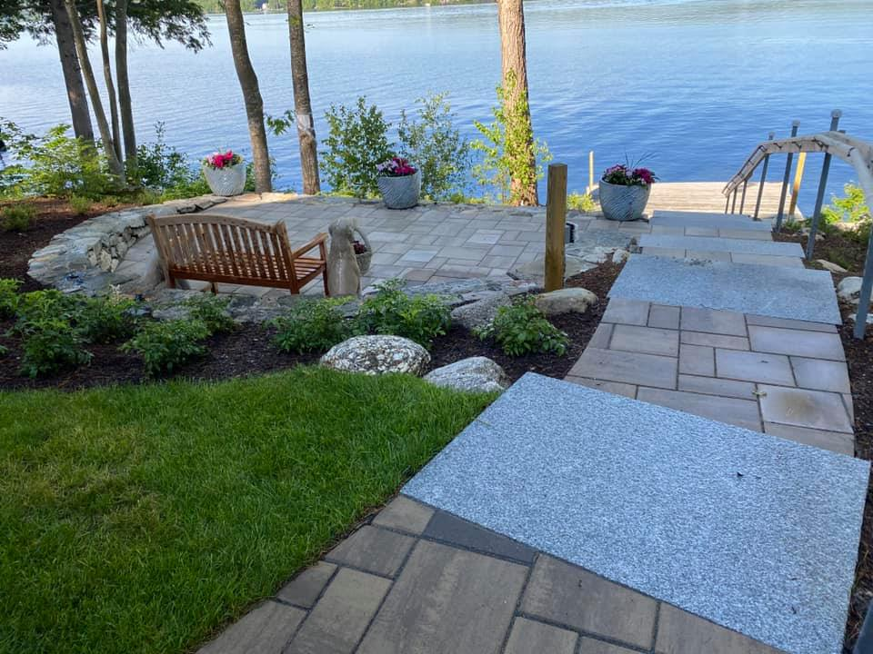 paver path and patio at lake